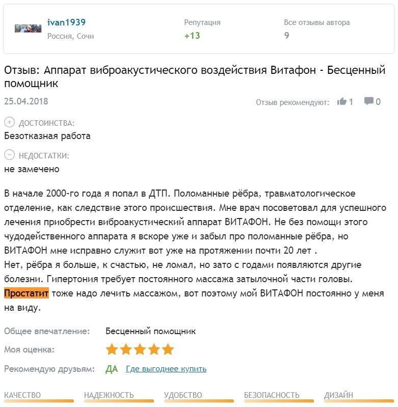 Отзыв с сайта Otzovik: Иван - Простатит - массаж простаты