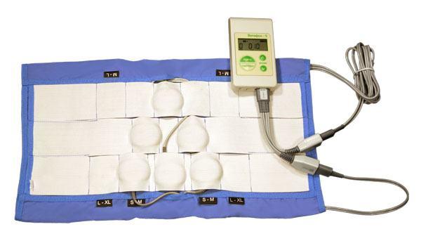 Манжета для межпозвонковой грыжи с установленными 6 виброфонами и подключенным аппаратом Витафон-5